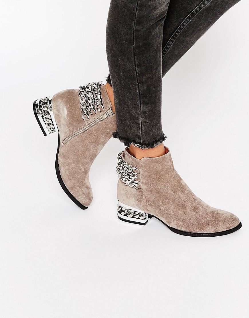 Jeffrey Campbell Chain Detail Suede Heeled Ankle Boots