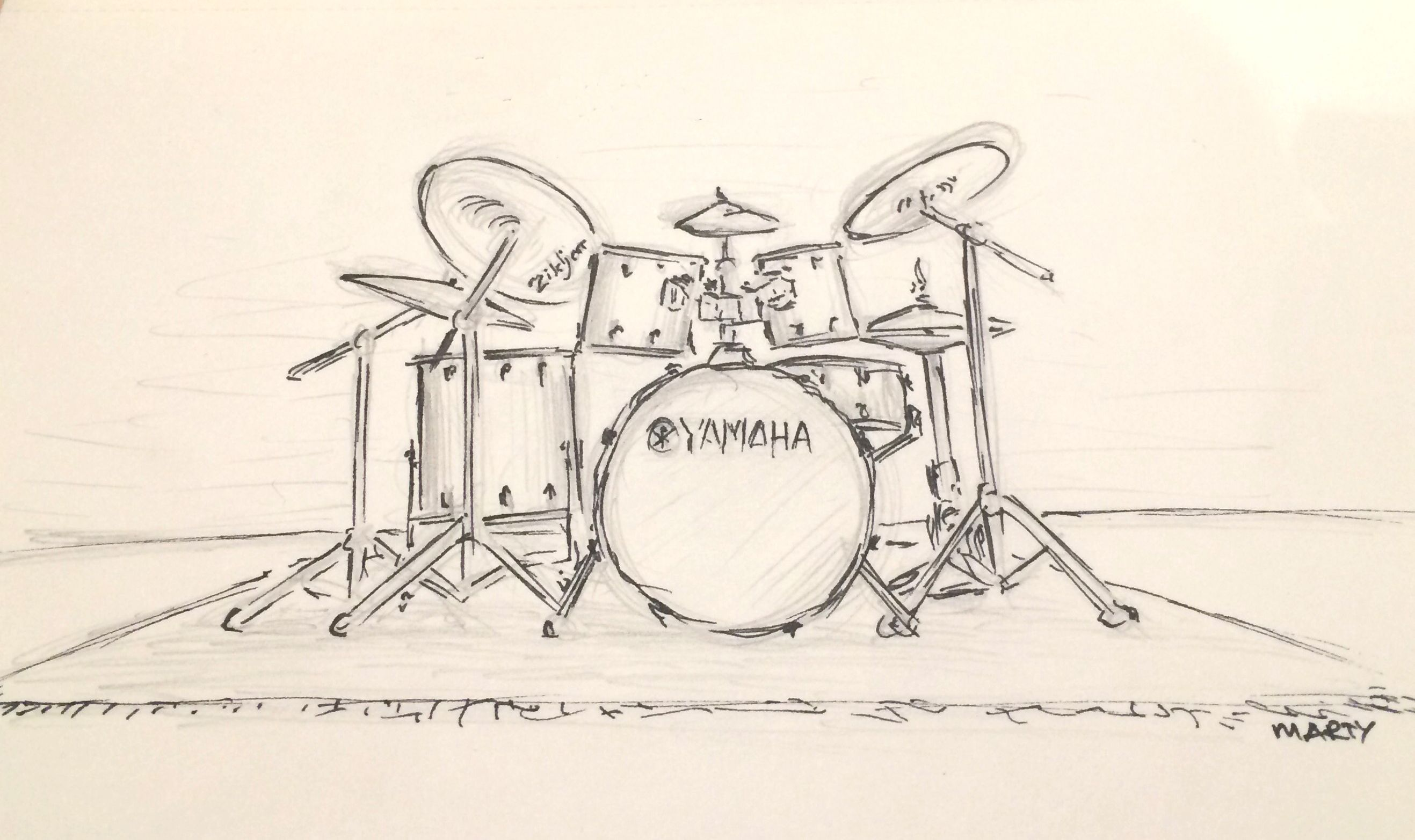 Just a quick pencil and ink sketch of a drum kit    Art