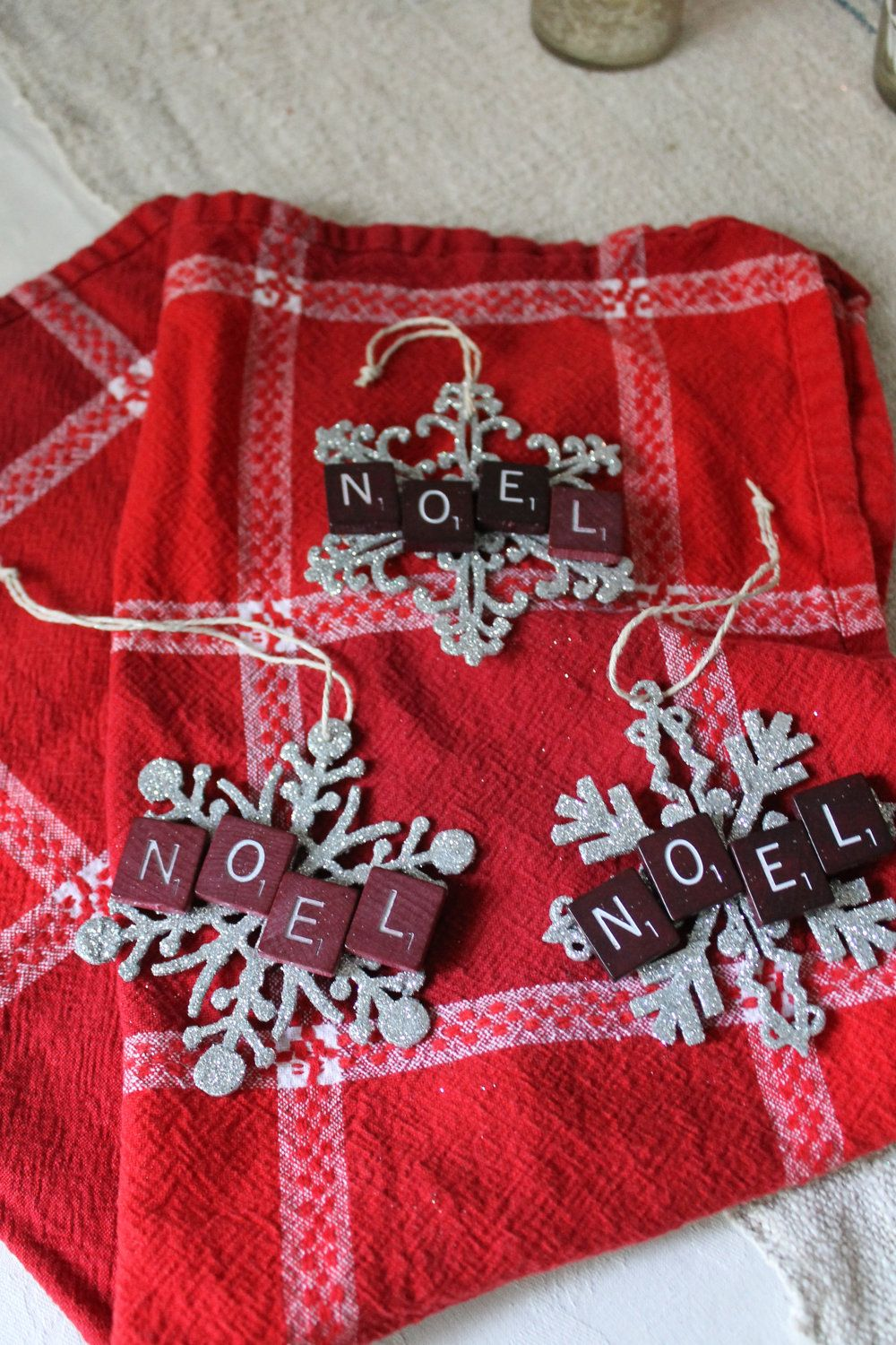 Vintage Scrabble Tile Snowflake Christmas Ornaments