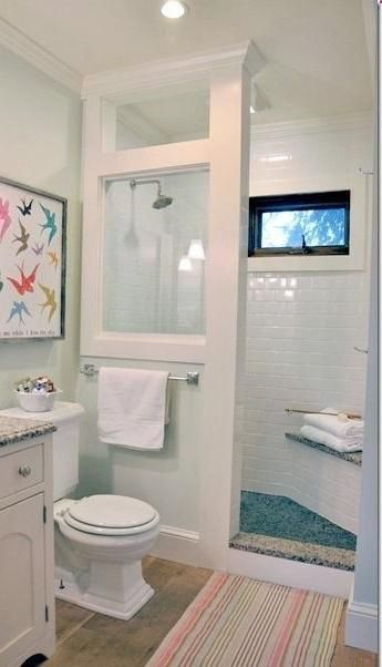 Attirant Doorless Shower Modern Farmhouse Cottage Chic Love This Shower For A Small  Bathroom