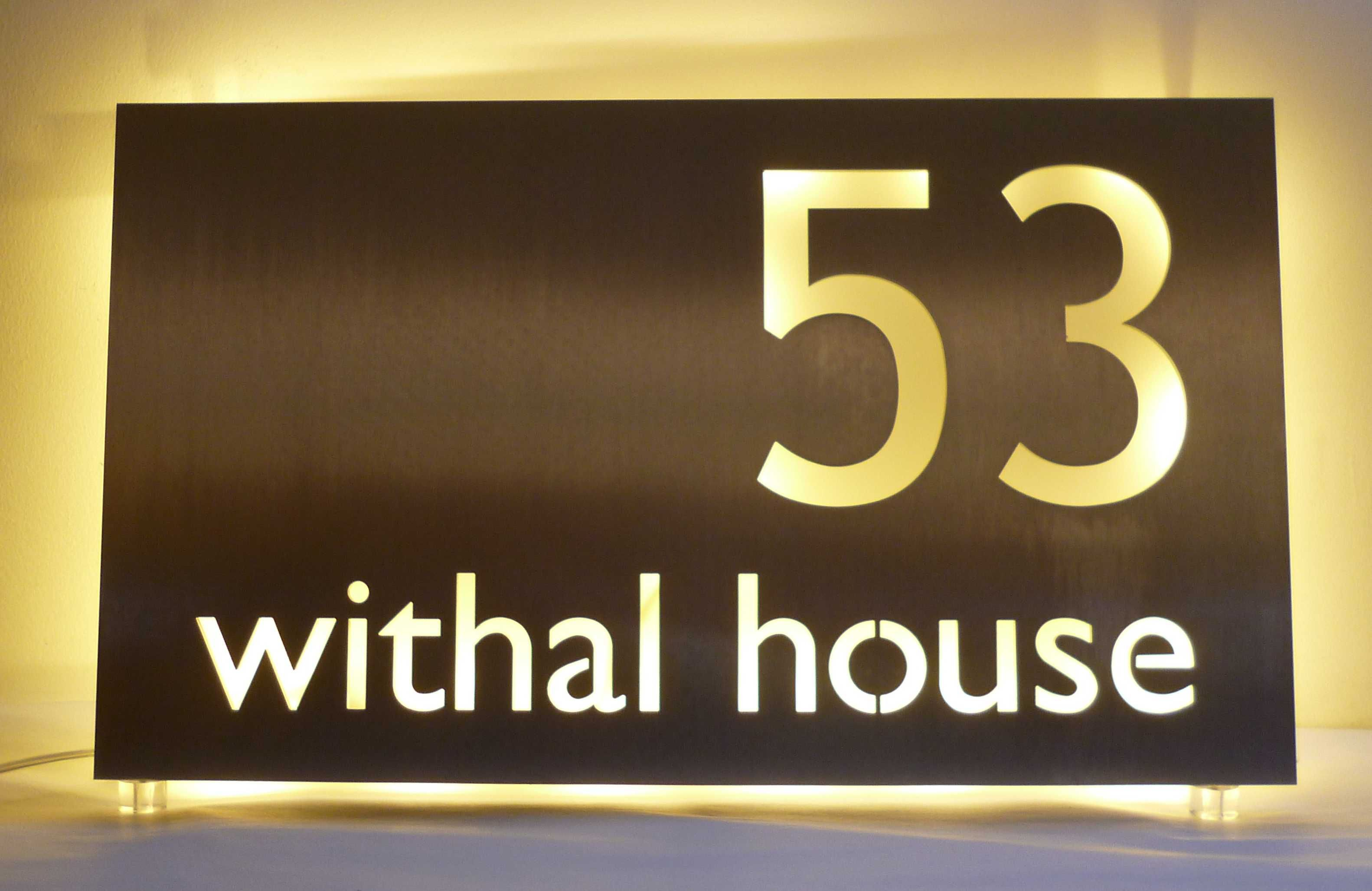 b872e42060b Stainless steel house name plate with warm white LEDs from Housenumbers  Limited. Bespoke design service
