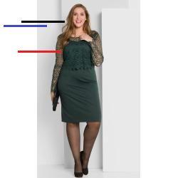 Kleid mit Spitzenoberteil - tiefgrün   sheego - # ...