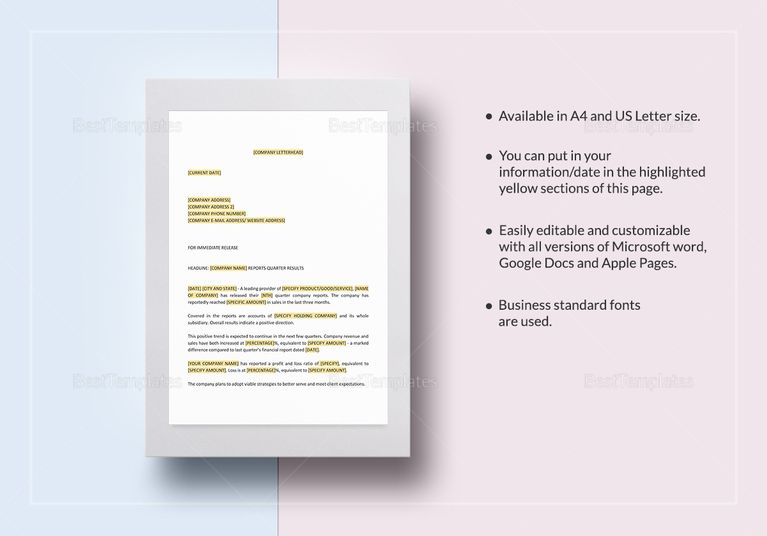 Press Release Company Reports Quarter Results Template Document - resume sample writing for fresh graduate pdf