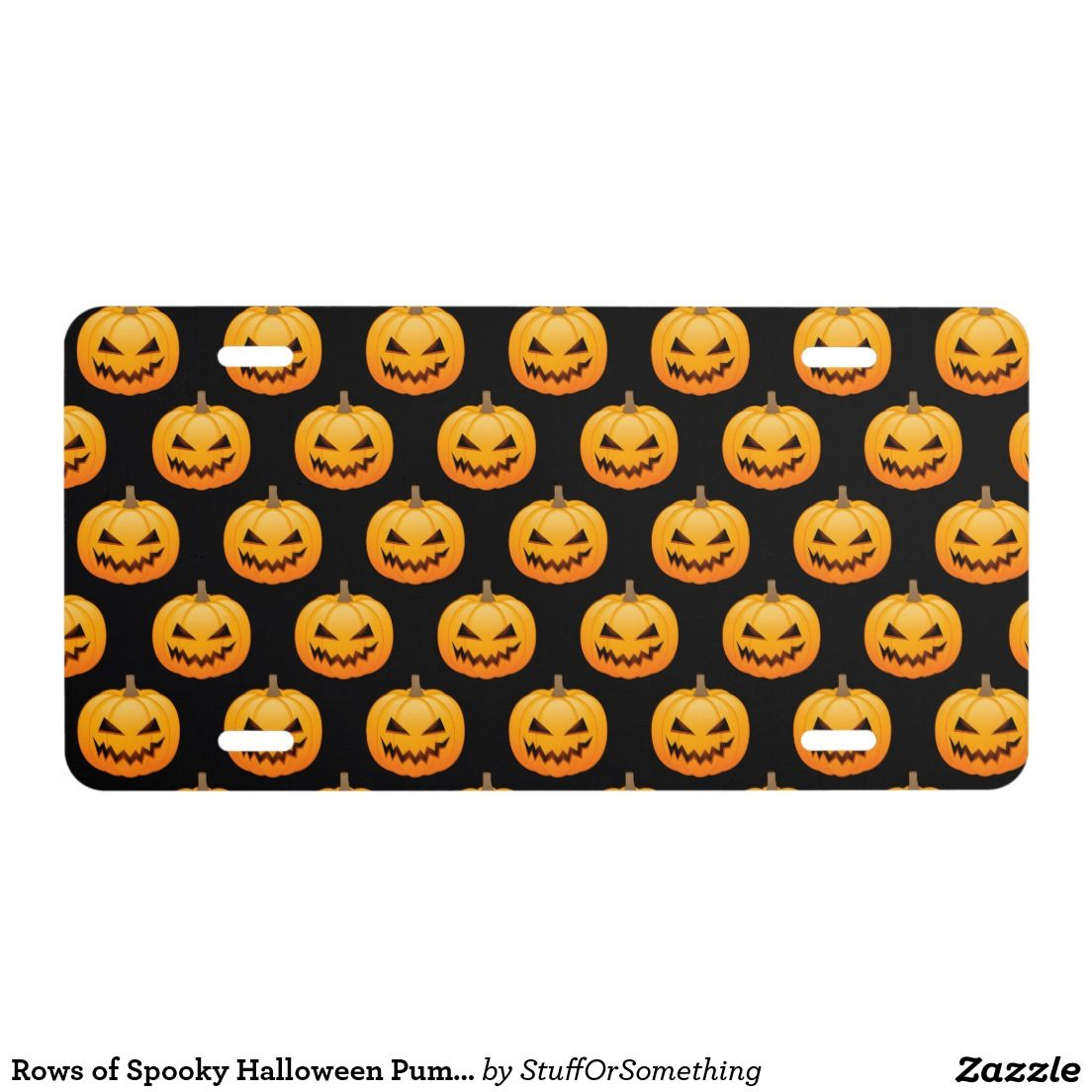 Rows of Spooky Halloween Pumpkins License Plate