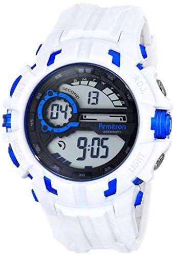 1e84a6995 Armitron Sport Men's 40/8335WHT Blue Accented Digital Chronograph White  Resin Strap Watch