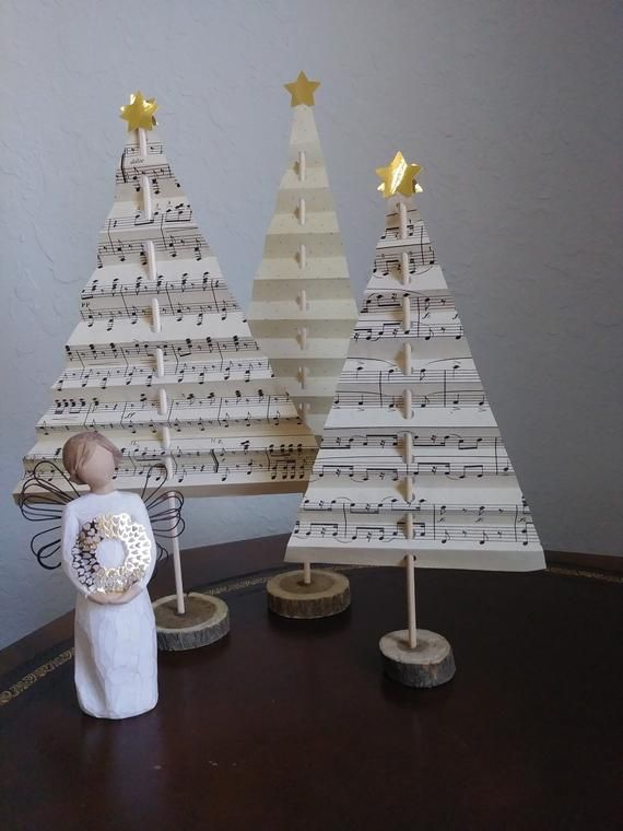 Photo of Vintage music tabletop Christmas tree trio