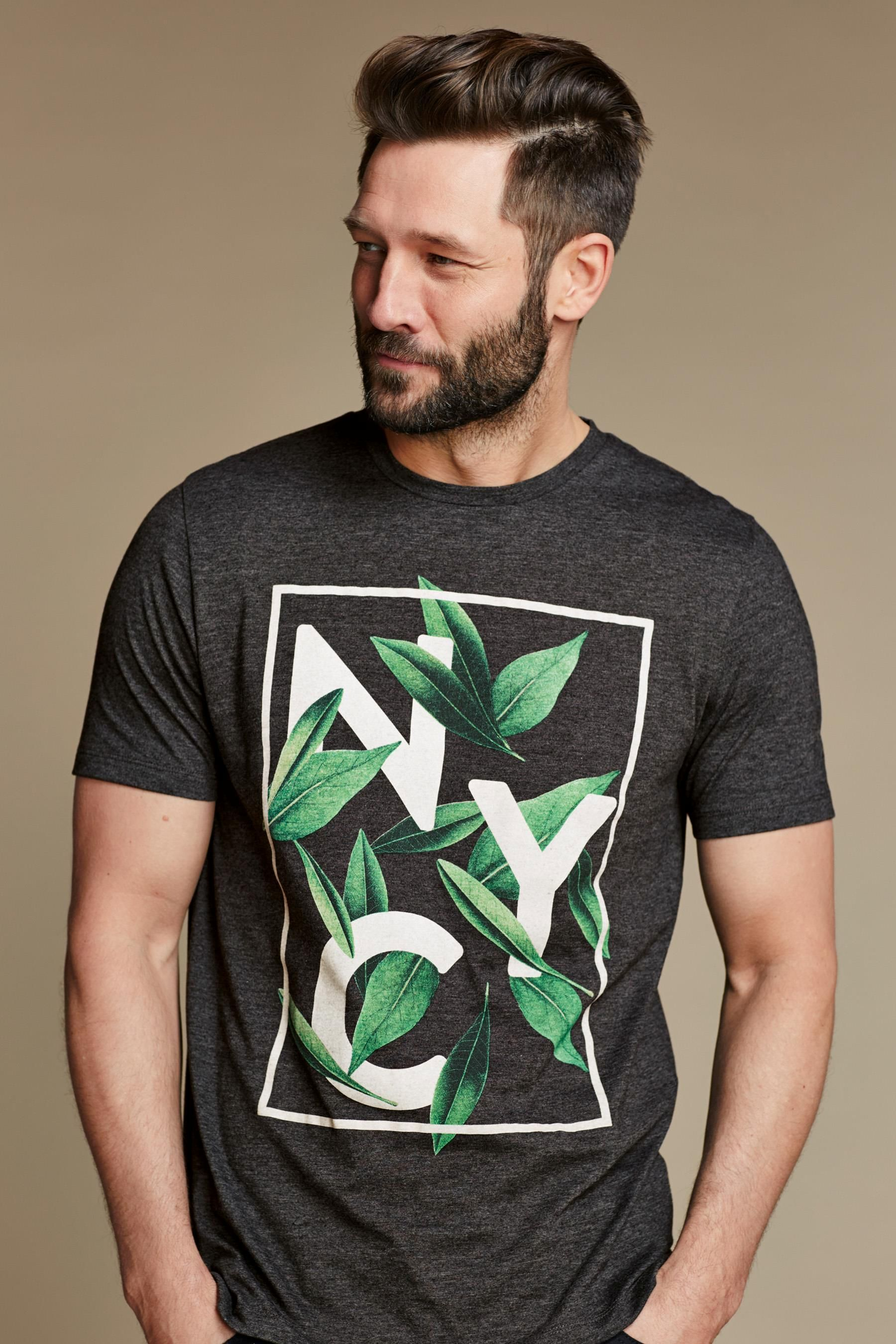 f8d3f14d21 Buy Charcoal NYC Leaf T-Shirt from the Next UK online shop good