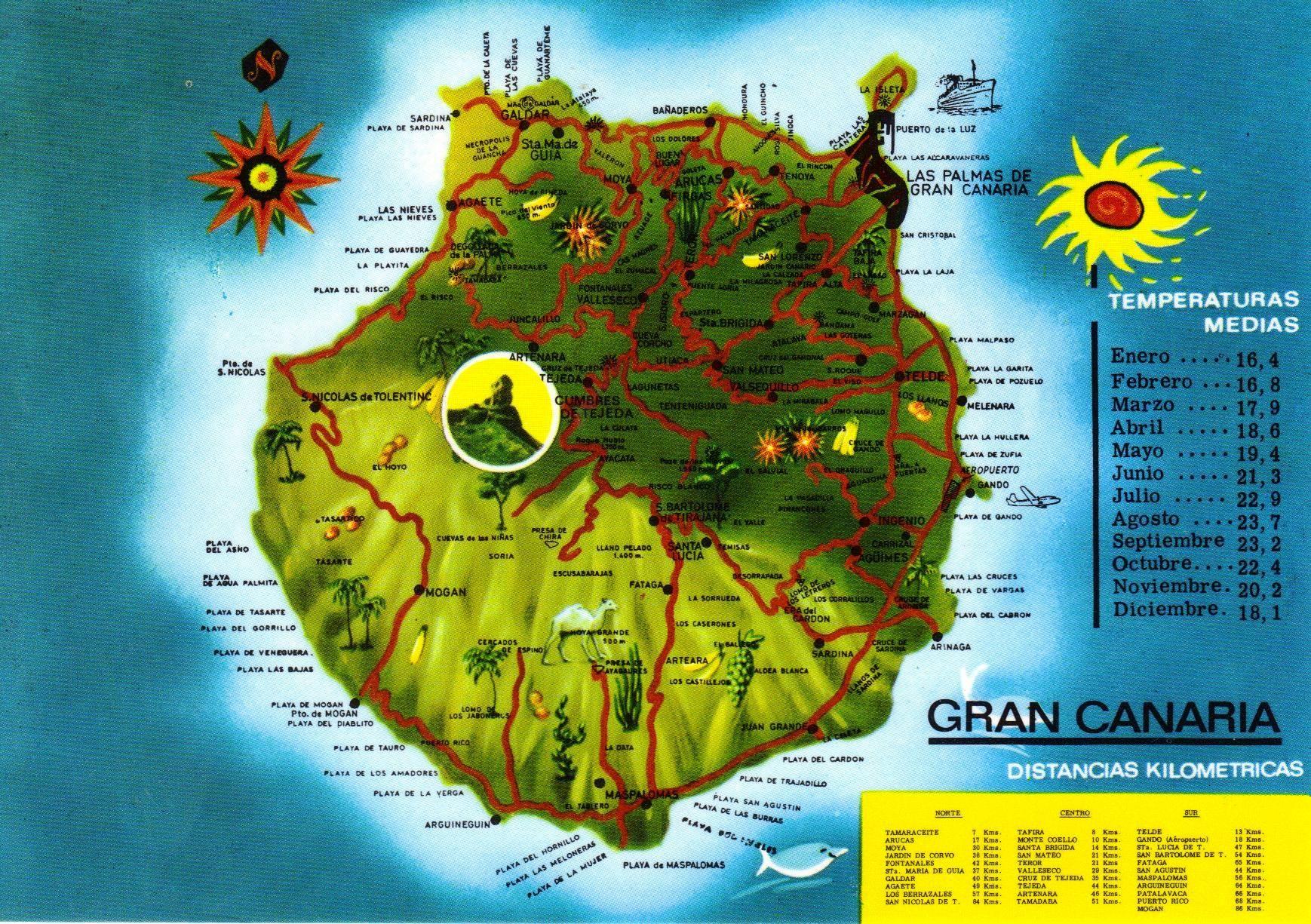 Gran Canaria Island Map postcard Gran Canaria Pinterest