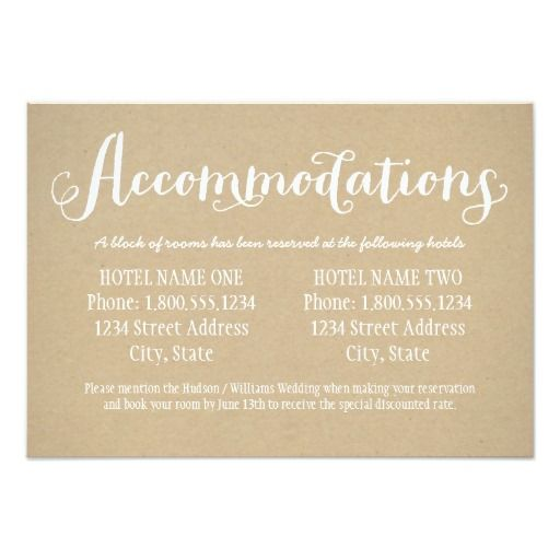 Hotel Accommodation Card Kraft Brown Zazzlecom In 2019 Rustic