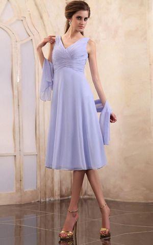 Zweistück A-Line bescheidenes Brautmutterkleid mit Schal aus Chiffon