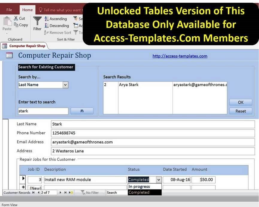 Access Database Computer Repair Shop Software Templates jjj - problem report