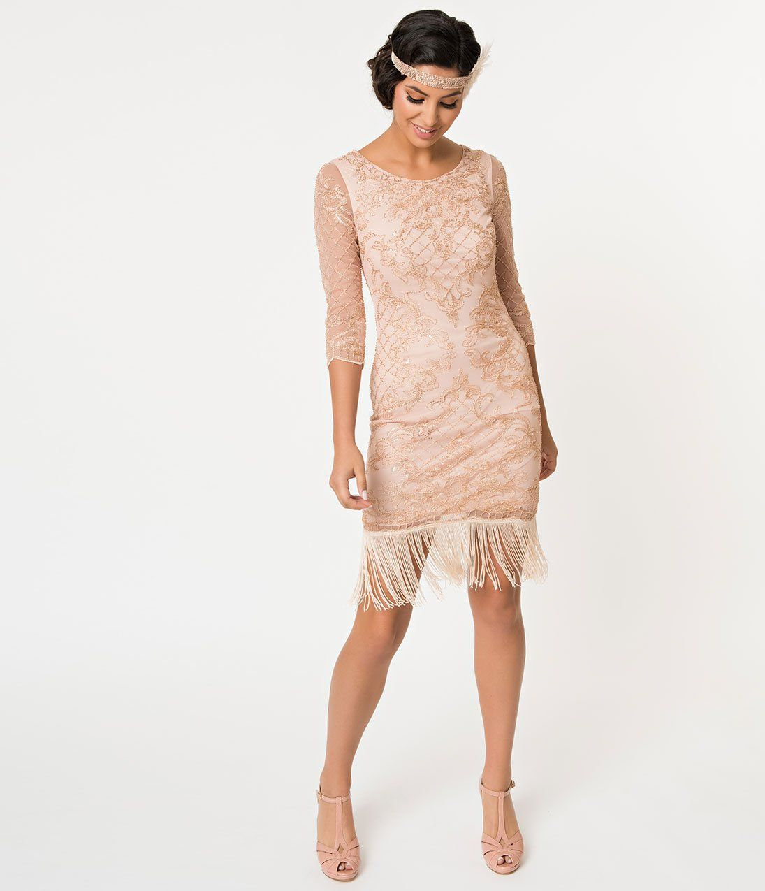 1920s Evening Dresses Formal Gowns 1920s Style Rose Pink Gold Beaded Sleeved Fringe Flapper Dress 110 00 A Flapper Dress 1920s Fashion Fringe Flapper Dress [ 1275 x 1095 Pixel ]