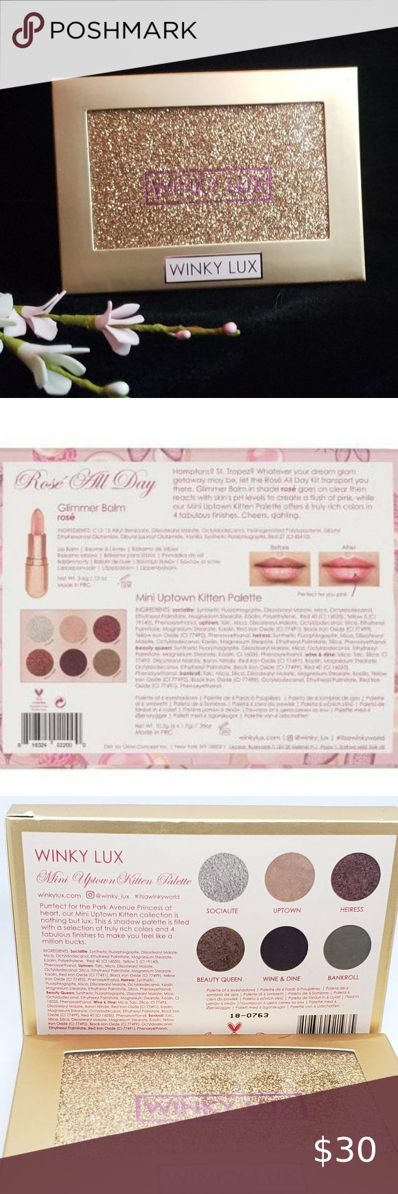 Winky Lux Rose All Day 3 Piece Set New Sealed In 2020 Winky Lux Intense Colors Gold Makeup