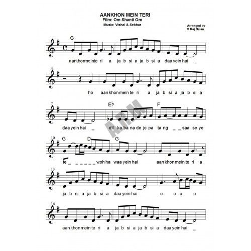 VIOLIN NOTES FOR BOLLYWOOD sheet music Book MILLENNIUM ...