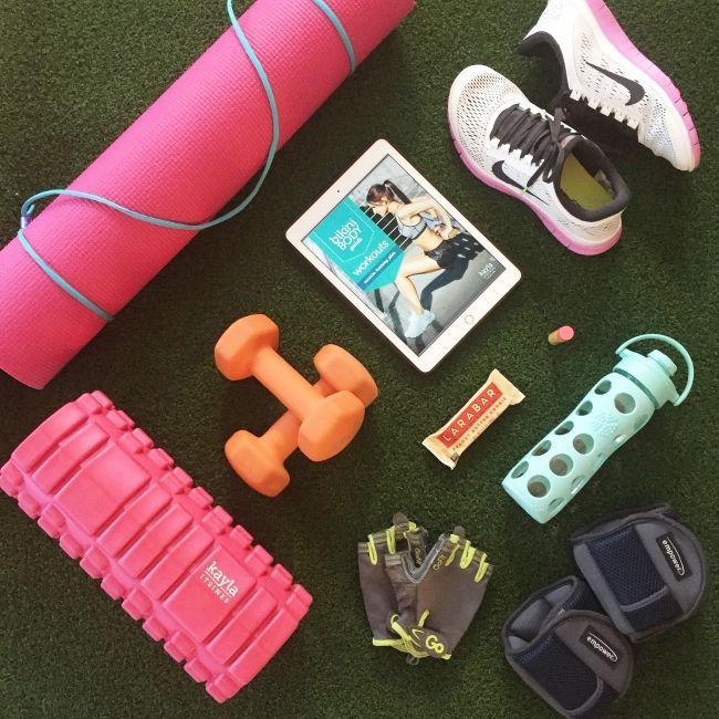 At Home Gym Essentials On Joyfetti Com Flat Lay