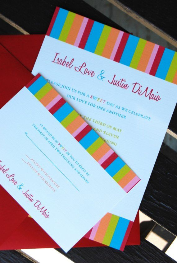 Candy themed wedding invitations