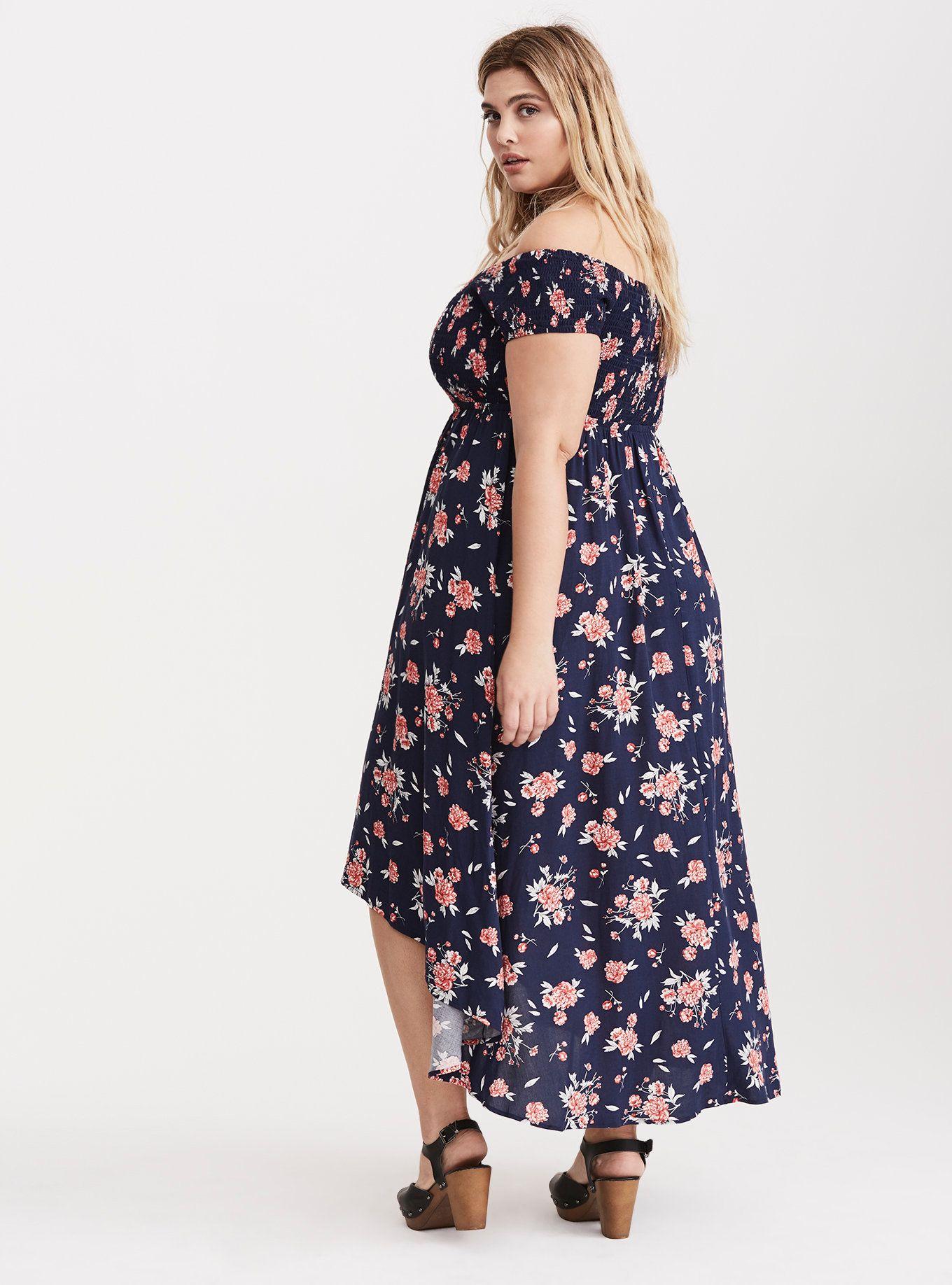 Dress size 24 torrid dress 24 torrid black and white draped v neck - Floral Print Off The Shoulder Smocked Hi Lo Maxi Dress In Black Red Torridthe