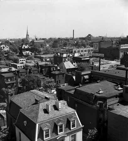 FROM BEAUMONT BUILDING 3720 WASHINGTON   SUN THEATER   CLUB PLANTATION   ST. ALPHONSUS LIGUORI ROCK CHURCH, circa 1955.