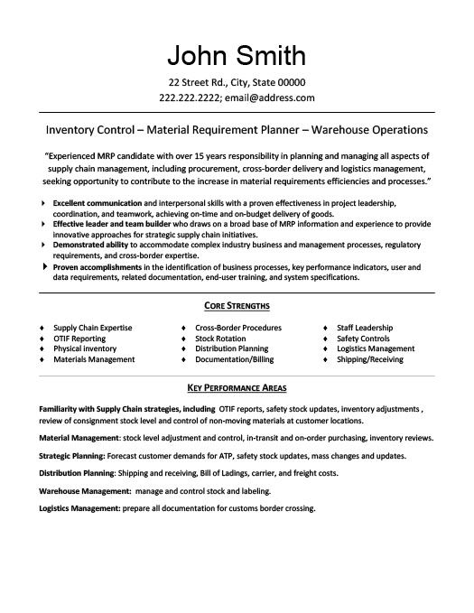 Materials Manager Resume Template Premium Resume Samples - transportation resume examples