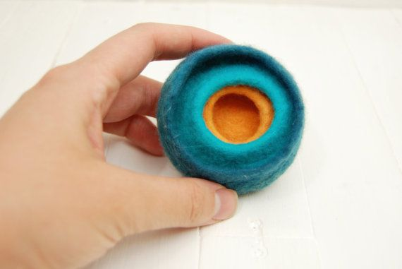 Felted Wool Brooch textile jewelry jasper lagoon by MusiuMuse