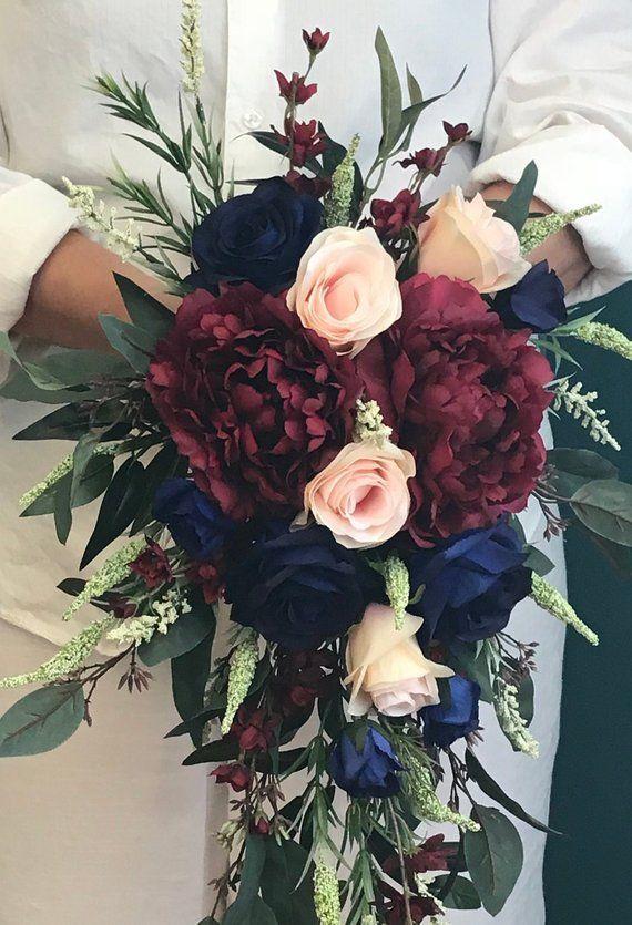 Cascading Navy Burgundy Blush Bridal Bouquet-Cascading Silk Navy & Burgundy Peonies Bouquet-Navy