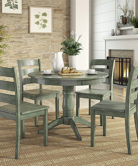 Sea Green Ladder Back Chair Round Five Piece Dining Table Set Dining Room Sets Round Dining Table Sets Small