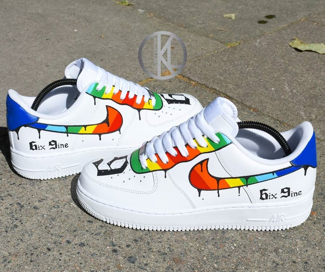 Nike Air Force 1 6ix9ine Rainbow Custom | Nike schoenen