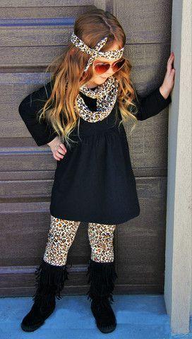 Girl Toddler Black Cheetah Animal Print Pant Boutique