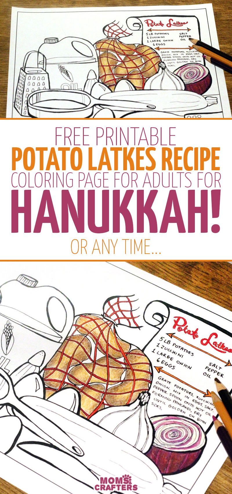 Get this color-in Latkes recipe! | Hanukkah, Free printable and Holidays
