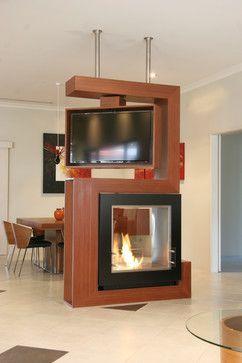 mueble divisor para sala y comedor chimenea con tv giratoria http