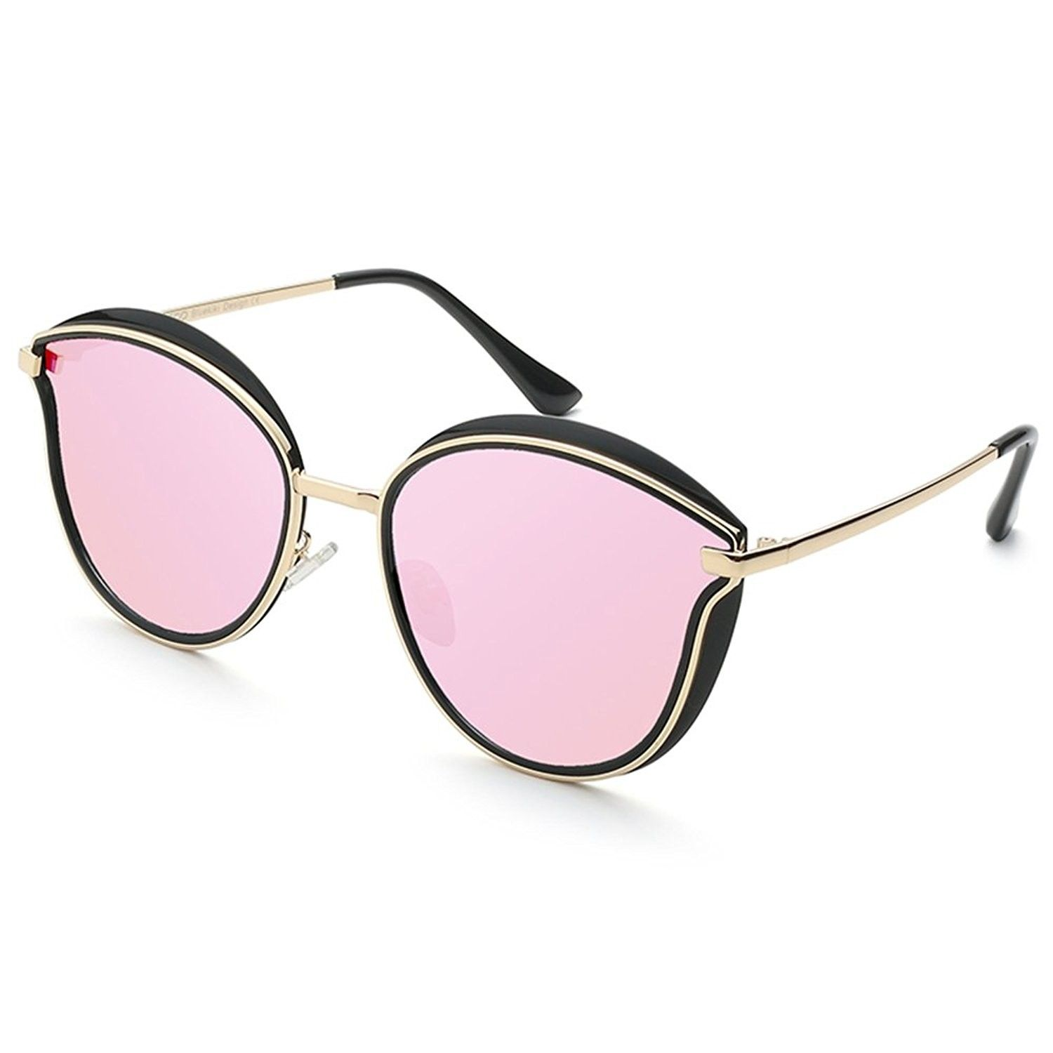6eda982c98 Fashion Vintage Cateye Women Sunglasses Designer Oversized Mirror by - Rose  Gold - CV17XE2G682 - Women s Sunglasses