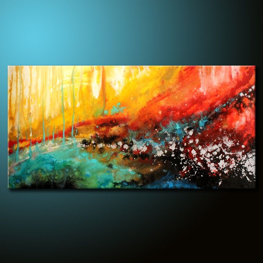 Abstract Painting 48x24 Canvas Colorful Acrylic Urban Fine Art