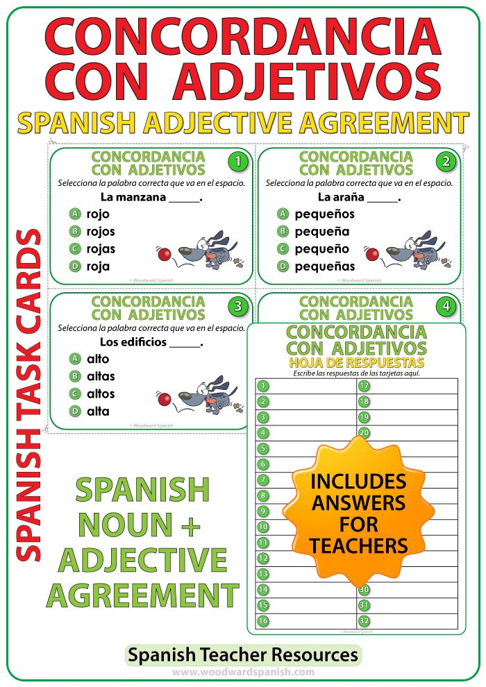 Spanish Adjective Agreement Task Cards Spanish Teacher Resources