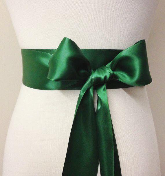 2 Inch Wide Ribbon Belt Dark Green Sash 5cm Plain Bridal