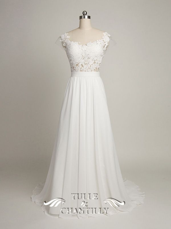 Design Your Own Wedding Dress Gorgeous Customized Long Chiffon With Scalloped Lace V Shaped Back