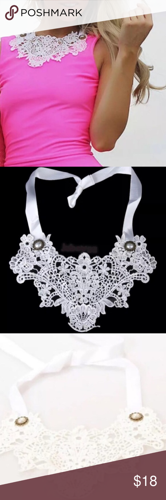 White Lace BIB NECKLACE statement choker collar New! Beautiful white lace bib necklace statement piece. Add flair and interest to your neckline...! Ties gently with a ribbon. Charming accent - give the illusion that it's part of your top or display as a stand alone necklace..! (D1) Nasty Gal Jewelry Necklaces
