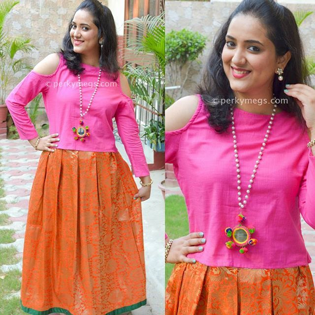 ae6aaa274 Pair brocade skirts with cold shoulder crop tops. Perfect for Indian  weddings and festivals. Check out my youtube channel Perkymegs for more  such Indian ...
