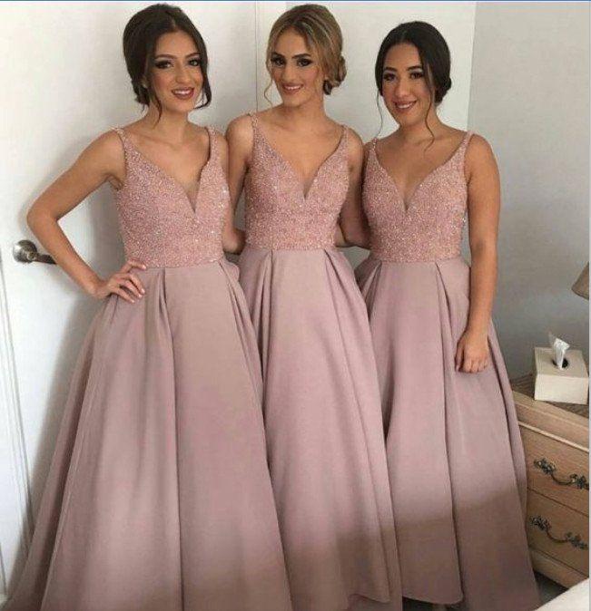 Dusty Rose Bridesmaid Dress Long Bridesmaid Dress A Line Bridesmaid Dress V N Rose Bridesmaid Dress Long Blush Bridesmaid Dresses Dusty Rose Bridesmaid Dresses