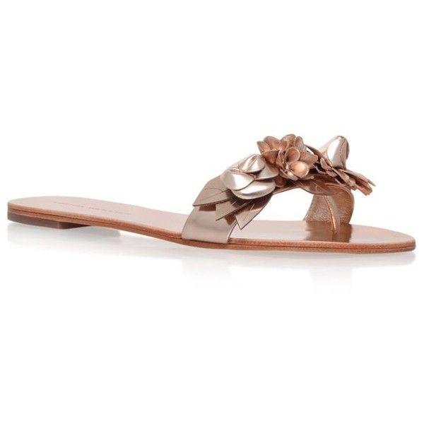 Sophia Webster Lilico Metallic Floral Slides ($345) ❤ liked on Polyvore featuring shoes, sandals, floral pattern shoes, sophia webster, flower pattern shoes, embellished sandals and floral print sandals
