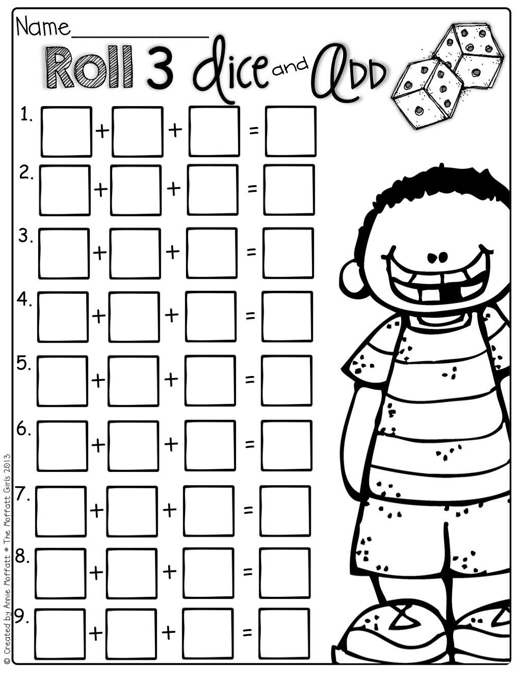 Roll 3 dice and add! Such a FUN way to practice adding 3 addends and ...