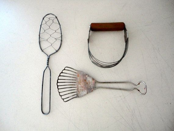 Vintage Kitchen Tools Wire Whisk Spatula And Bakelite By Kimbuilt