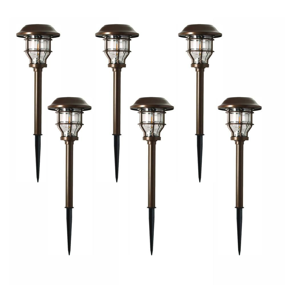 Hampton Bay Solar Brass Outdoor Integrated Led 2500k 10 Lumens Vintage Bulb Landscape Pathway Light Set 6 Pack Nxt 1742 The Home Depot In 2020 Pathway Lighting Vintage Bulb Solar Lights Garden