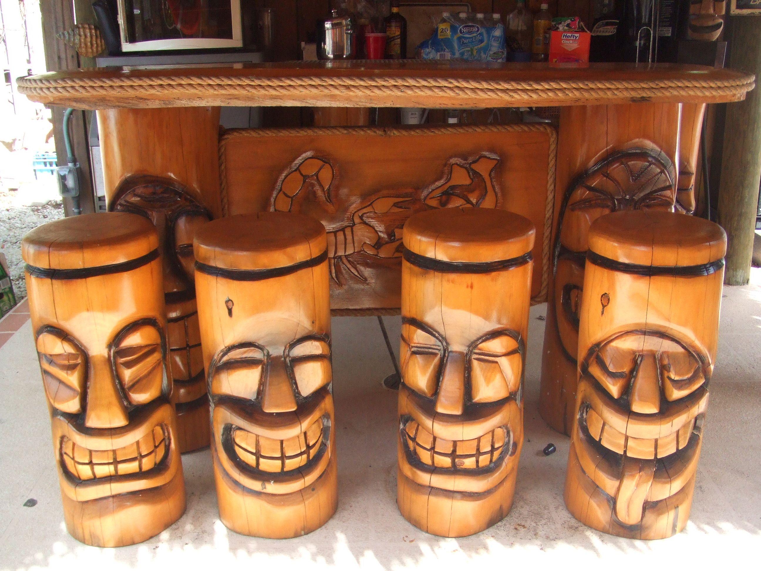 polynesian tiki bar stools tiki tiki tiki bar stools bar stools rh pinterest com Easy to Build Tiki Bar Small Outdoor Bar for Sale