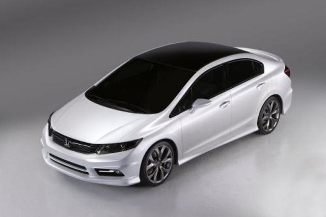 2012 civic. Make this black with black rims and hot pink calipers. A girl can dream