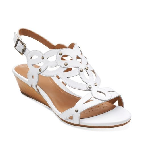 Womens Sandals Clarks Playful Tunes White Leather