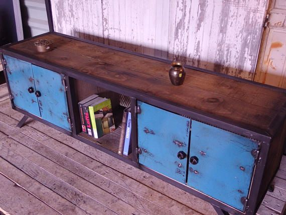 Industrial Furniture Type Row Wood And Steel Meuble De Style Meubles Industriels Mobilier De Salon