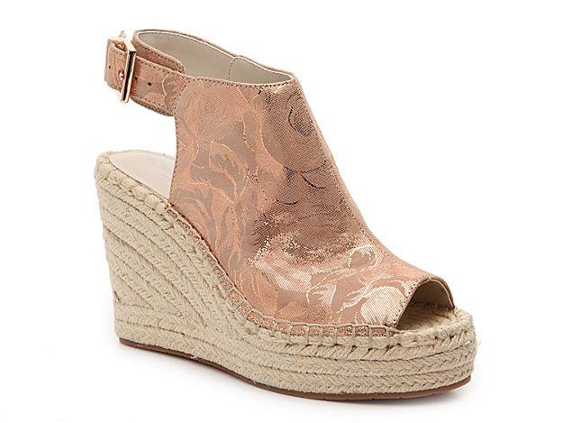 28a61f7fa00 Women Olivia Espadrille Wedge Sandal -Rose Gold Metallic Floral ...