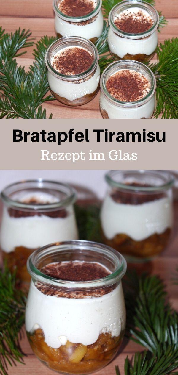 Rezept für ein leckeres Dessert im Glas für Weihnachten Bratapfel Tiramisu Ganz einfach und durch die Schichten sieht es super aus Nachttisch für die Weihn...