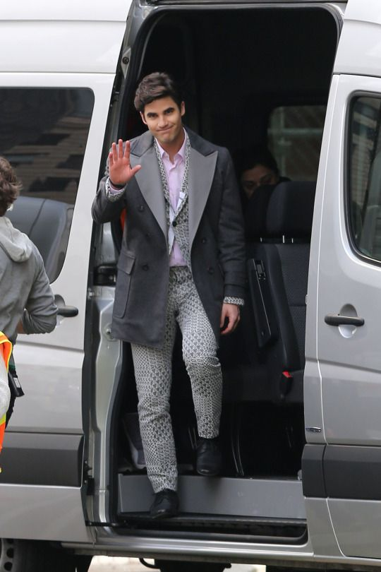 """Darren Criss on set for """"Glee"""" in Los Angeles on February 20, 2015."""