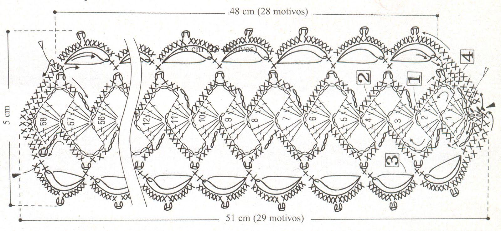 Diagrama del tejido caderín con Conchas y perlitas nacaradas ...
